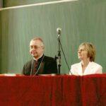 Konferencja Blask świadectwa, Collegium Minus. 22.IV. Od lewej strony prof. S. Lorenc, ks. Arcybiskup S. Gądecki, dyr. K. Szablak, dr S. Sławiński. Archiwum rodzinne