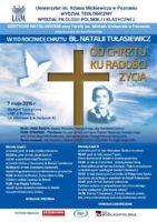 Plakat z konferencji w 2016 r. poświęconej bł. Natalii Tułasiewicz